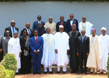 PRESIDENT BUHARI INAUGURATES PRESI'TIAL COMMITTEE ON STATE LEGI AND JUDICIARY AUTONOMY 1.; President Muhammadu Buhari (M) flanked by SGF, Mr. Boss Mustapha, Minister of Information, Alhaji Lai Mohammed, Minister of Justice and Attorney General of the Federation, Abubakar Malami SAN, SSAP NASS (Senate) Senator Ita Enang, Chief Judge of Kogi State, Hon Justice N. Ajanah, Chief Judge of Bayelsa State Hon Justice Abiri, Chairman Senate Committee on Judiciary, Senator Umaru, Chairman House committee on Judiciary, Hon Aminu Shagari, President Nigerian Bar Association (NBA), Paul Usoro SAN, Grand Khadi Gombe State of Sharia Court of Appeal, Hon Kadi Abdullahi M. Usman, Ag President of the FCT Customary Court of Appeal, Hon Justice Abbazhi Musa Speaker Taraba State house of Assembly Rt Hon Abel Peter Riah, Comrade Bala Hadi, Senate Committee on Judiciary, Mr Bala, Accountant General of the Federation, Alhaji Ahmed Idris, Ahmed Gambo Saleh, DG Nigerian Governor's forum, Mr Asishana Okauru and Mr Chike Adibuah during the inauguration of the Presidential implementation Committee on Autonomy of the State Legislature and State Judiciary in accordance with the 4th Alteration to the 1999 Constitution held at the Council State House, Abuja Friday March 22ND, 2019. PHOTO; SUNDAY AGHAEZE.