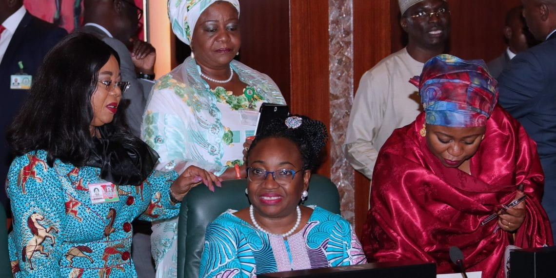PRESIDENT BUHARI PRESIDES OVER FEC 5. Head of Civil Service of the Federation, Mrs Winifred Oyo-Ita flanked by Permanent Secretary SGF Office, Ms. Georgina Ehuriah, Mrs Soso Mohammed and Personal Assistanto the President on Social Media, Mrs Lauretta Onochie during the FEC Meeting held at the Council Chamber Abuja. PHOTO; SUNDAY AGHAEZE. AUGUST 1 2018