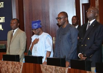 PRESIDENT BUHARI PRESIDES OVER FEC MEETING 8. R-L Minister of Power Works and Housing, Mr Babatunde Fashola, Minister of State Resources, Dr Emmanuel Ibe Kachikwu, Minster of State Niger Delta, Mr. Claudius Omoyele Daramola and Minister of Niger Delta, Mr Usani Uguru Usani during the Federal Executive Council (FEC) Meeting held at the Council Chambers State House Abuja. PHOTO; SUNDAY AGHAEZE. JUNE 13, 2018