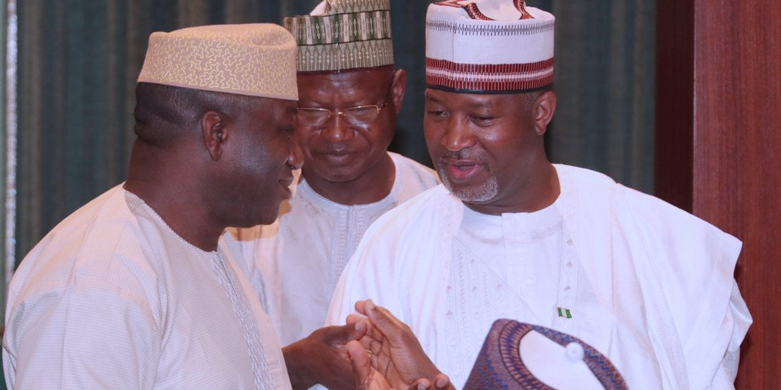 VICE PRESIDENT PRESIDES OVER FEC MEETING 7. L-R;  Minister of Mines and Steel Dr Kayode Fayemi, Minister of State Environment Alhaji Ibrahim Jibrin and Minister of State Aviation, Senator Hadi Sirika during the FEC Meeting held at the Chambers in Abuja. PHOTO; SUNDAY AGHAEZE. MARCH 14 2018