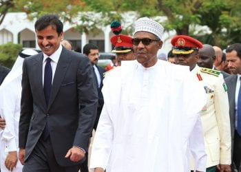 PRESIDENT BUHARI RECEIVES EMIR OF QATAR 1;President Muhammadu Buhari and Emir of Sheikh Tamim bin Hamad Al Thani during a visit at the State House in Abuja. PHOTO; SUNDAY AGHAEZE APRIL 23 2019.
