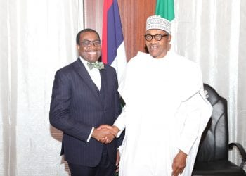 PRESIDENT BUHARI RECEIVES PRESIDENT OF ADB ADESINA 1. President Muhammadu Buhari with President of the African Development Bank, AFDB, Dr Akinwumi Adesina during an audience at the State House in Abuja. PHOTO; SUNDAY AGHAEZE,. APR 23 2019