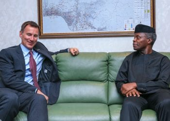 VP Osinbajo with United Kingdom Foreign Secretary, Mr. Jeremy Hunt