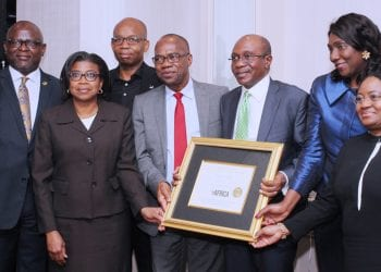 CBN GOVERNORR AWARD IN US 3:  L-R: The MD/CEO, First Bank of Nigeria Plc, Adesola Adeduntan; Director General, Debt Management Office, Patience Oniha; Group Managing Director, Diamond Bank, Uzoma Dozie; Deputy Governor, CBN, Dr. Okwu Nnanna; Governor, Central Bank of Nigeria, Mr. Godwin Emefiele; Chairman, Foreign Investment Network, Mrs. Olayinka Fayemi and the CEO, Unity Bank Plc, Tomi Somefun shortly after Emefiele was conferred with the 2017 Forbes Best of Africa Innovative Banking Award at the Willard Intercontinental Hotel in Washington DC…Thursday, October 12, 2017 . PHOTO; SUNDAY AGHAEZE