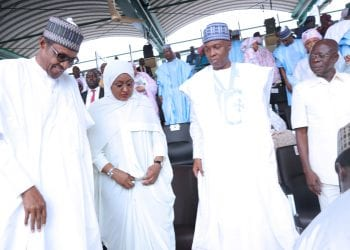 MAY 29 TAKE OVER 6. The President Muhammadu Buhari flanked by his wife Dr Aisha, President of the Senate Dr Bukola Saraki and APC National Chairman Adams Oshiomhole during the inauguration of the President for another 4 years held at the Eagle Square, Abuja. PHOTO; SUNDAY AGHAEZE. MAY 29 2019