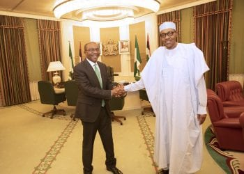 PRESIDENT BUHARI CONGRATULATES THE CBN GOVERNOR, EMEFIELE 1-2B. President Muhammadu Buhari receives and congratulate the Central Bank Governor of Nigeria, Mr Godwin Emefiele in his office State House Abuja. PHOTO; SUNDAY AGHAEZE. MAY 13 2019