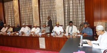 PRESIDENT BUHARI MET PROGRESSIVE GOVS' FORUM BB. R-L; President Muhammadu Buhari, Vice President Prof Yemi Osinbajo, Governors of Imo,, Owelle Rocharles Okorocha, Zamfara State Abdulazziz Yari, Borno State Alhaji Ibrahim Shettima and Adamawa State, Mohammed Bidow Jubrilla, Benue State Governor, Mr Sam Ortom, Edo State Governor Adam Oshiomohle as President held meeting with the ALL Progressive Governors at the State House in Abuja. PHOTO; SUNDAY AGHAEZE. JULY 26 2016