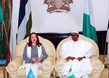 PRESIDENT BUHARI RECEIVES UN PRESIDENT 2. President Muhammadu Buhari chats with the United Nation General Assembly President H.E Maria Fernanda Espinosa Garces during a courtesy visit at the State House Abuja. PHOTO; SUNDAY AGHAEZE. MAY 7 2019.