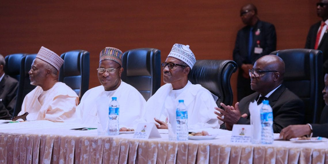 PRESIDENT BUHARI DECLARES OPEN ALL JUDGES CONFERENCE 4. R-L; Chief Justice of Nigeria, Hon Justice Walter Onoghen, President Muhammadu Buhari, Retired former Chief Justice of Nigeria, Hon Justice Alfa Belgore and Retired Chief Justice of Nigeria, Hon Justice Idris Kutige during the opening of the 2017 All Nigeria Judges conference held at the National Judicial Institute in Abuja. PHOTO; SUNDAY AGHAEZE/STATE HOUSE. NOV 20 2017