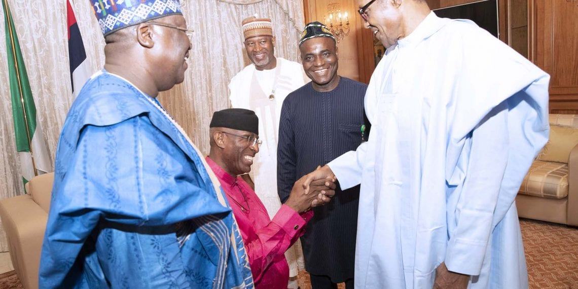 PRESIDENT BUHARI RECEIVES NEW SP AHMED AND DSP OMO-AGEGE 5B. President Muhammadu Buhari receives the newly elected Senate President Senator Lawan Ahmed and Deputy Senate President Senator Ovie Omo-Agege at the Residence State House in Abuja. PHOTO; SUNDAY AGHAEZE. JUNE 11 2019