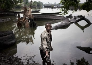 B-DERE, NIGER DELTA, NIGERIA- JULY, 2016: In B-Dere an oil spill from Shell in 2007, polluted all the water, depriving the fishermen of fishes and intoxicating the soil. Nothing is growing anymore is crying Nambi Azikiwe. (Picture by Veronique de Viguerie/ Reporatge by getty Images).