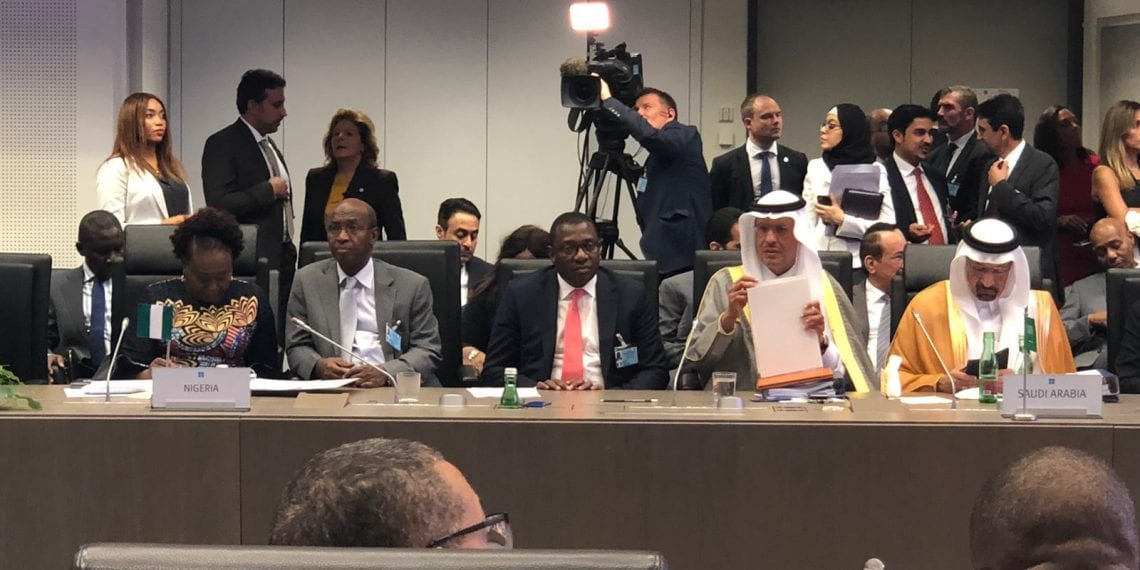 From Left Nigeria's Perm Sec, Petroleum ministry, Dr. Folasade Yemi-Esan, OPEC Governor Dr Omar Ibrahim, Representing OPEC National representative, Mele Kyari (representing NR), Mr. Bala Wunti, Group General Manager, Corporate Planning and Strategy.