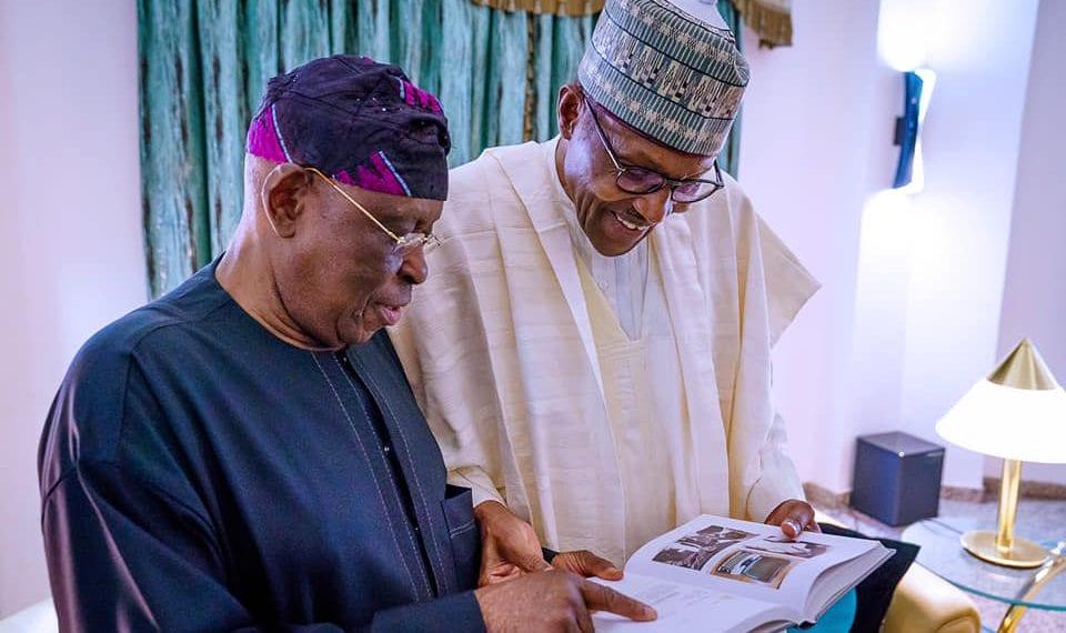 "Chief Segun Osaba presenting his book ""Battlelines: Adventures in Journalism and Politics"" to President Buhari"