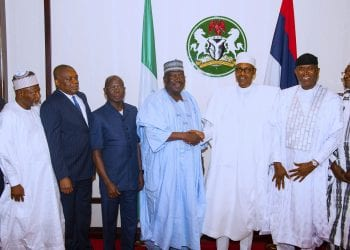 PRESIDENT BUHARI HOST TO DINNER NASS PRINCIPAL OFFICERS 1. President Muhammadu Buhari flanked by the President of the Senate, Ahmed Lawan, Deputy President of the Senate, Ovie Omo-Agege. Other are APC National Chairman, Adams Oshiomhole, Senate Leader, Senator Abdullahi Yahaya, Chief Whip, Senator Orji Uzor Kalu and Deputy Minority Whip Sahabi Yau during a dinner for the Principal officer of the National Assembly held at the State House Thursday Night. PHOTO; SUNDAY AGHAEZE. JULY 11 2019