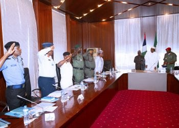 PRESIDENT BUHARI RECEIVED SECURITY BRIEFING 1. R-L; President Muhammadu Buhari, Minister of Defence, Brig Gen Mansur Dan Ali, Chief of Defence Staff General Abayomi Olonisakin, Chief of Army Staff, Lt General Tukur. Yusuf Buratai, Chief of Naval Staff, Admiral Ibok Ekwe Ibas, Chief of Air Staff, Sadique Abubakar and Inspector General of Police, Mohammed Adamu during the Security Briefing at the State House, ABUJA. PHOTO; SUNDAY AGHAEZE. MAY 28 2019