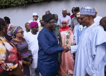 PRESIDENT BUHARI RECEIVES BUHARI MEDIA ORG 6. President Muhammadu Buhari in a handshake with  Manager Buhari Media Organisation, Mr Seyi Adebayo and others during a Courtesy visit by the Group State House in Abuja. PHOTO; SUNDAY AGHAEZE. JULY 2 2019