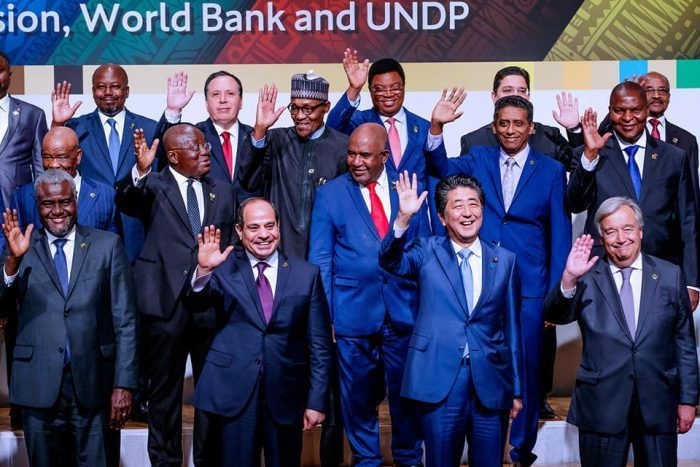 Abe with African leaders at TICAD