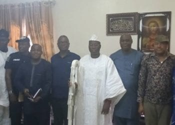 Aare Ona Kankanfo of Yorubaland and Leader of the OPC, Iba Gani Adams, with delegation sent by IGP