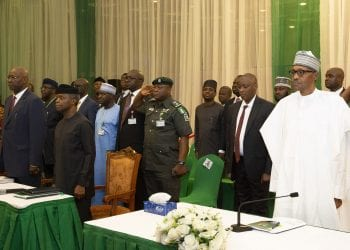 PRESIDENT BUHARI ATTENDS DAY-2 OF PRESIDENTIAL MINISTERS RETREAT 3. R-L; President Muhammadu Buhari, Vice President Yemi Osinbajo san and SGF Mr Boss Mustapha during the Day-2 of the Presidential Retreat for Ministers designate held at the State House Abuja. PHOTO; SUNDAY AGHAEZE. AUG 20 2019.