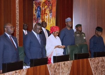 VICE PRESIDENT PRESIDES OVER NEC MEETING 1. R-L; Vice President Yemi Osinbajo SAN, SGF Mr. Boss Mustapha, Minister of Finance, Zainab Ahmed, Minister of State Budget and National Planning, Mr Clement Agba during the National Economic Council Meeting held at the Council Chambers State House Abuja. PHOTO; SUNDAY AGHAEZE. AUG 22 2019.