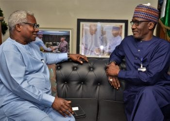 NNPC GMD, Mallam Mele Kyari and the Director General of the Voice of Nigeria (VON), Mr. Osita Okechikwu, in a heart-to-heart talk during a business visit to the NNPC Towers… Thursday