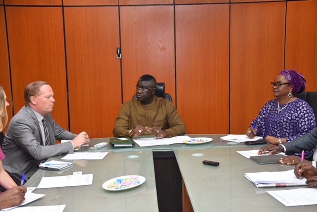 Minister Counsellor and Head of Co-operation of European Union (EU) Delegation to Nigeria & ECOWAS, Mr Kurt Cornelis; Minister of State for Budget and National Planning, Prince Clem Ikanade Agba; and, Director of International Co-operation in the Ministry, Mrs Elizabeth Egharevba, during an audience on EU's development partnership with Nigeria in the minister's office in Abuja.