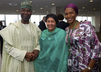 NEW PRESIDENT OF THE UN BANDE 7. L-R' The New President of United Nations General Assembly, Amb Tijjani Mohammed Bande Deputy Secertary General f the United Nations, Hajiya Amina Mohammed and African Union to the United Nations, Ms. Fatima Kyari Mohammed during the handle over in New York, USA PHOTO; SUNDAY AGHAEZE. SEPT 16 2019