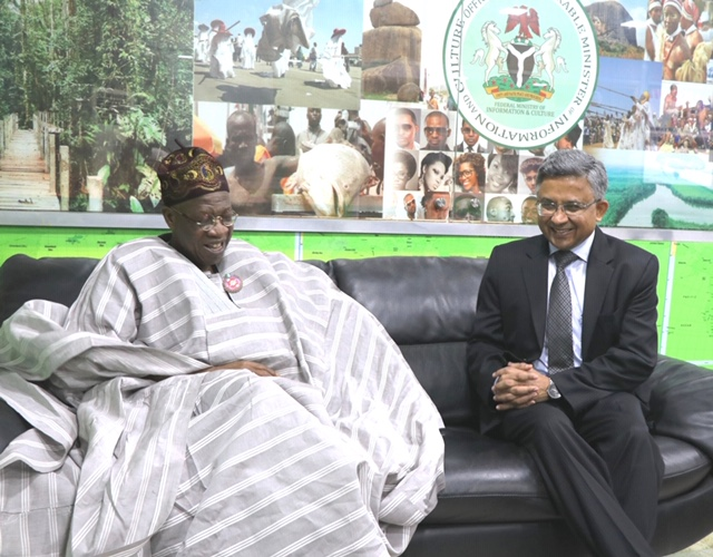 The Minister of Information and Culture, Alhaji Lai Mohammed (left), when he received the Indian High Commissioner to Nigeria, Mr. Abhay Thakur (right), on a courtesy visit to his office in Abuja on Friday