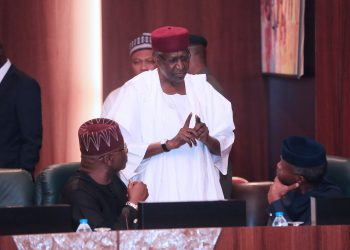 Chief of Staff, Mallam Abba Kyari, Vice President Yemi Osinbajo SAN, and SGF, Mr. Boss Mustapha during a Federal Executive Council meeting held at the Council Chambers, State House, Abuja, on MARCH 13 2019.