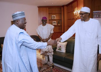 PRESIDENT BUHARI RECEIVES SENATE PRESIDENT AND SPEAKER 1A&B.; President Muhammadu Buhari receives President of the Senate, Distinguish Senator Ahmed Lawan at the Residence, Presidential Villa Sunday Night in Abuja. PHOTO; SUNDAY AGHAEZE. COT 6 2019