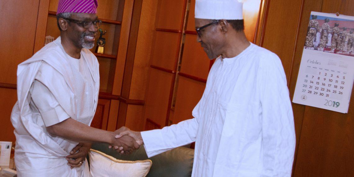 PRESIDENT BUHARI RECEIVES SENATE PRESIDENT AND SPEAKER 2A.; President Muhammadu Buhari receives the Speaker Rt Hon Femi Gbajabiamila at the Residence, Presidential Villa Sunday Night in Abuja. PHOTO; SUNDAY AGHAEZE. COT 6 2019