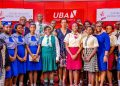 Group Head, Brand Management, United Bank for Africa(UBA) Plc, Mr. Lashe Osoba; English Teacher, Holy Child College, Ikoyi, Mrs Ezechukwu Ngozi; Managing Director /CEO, UBA Foundation, Mrs Bola Atta; Group Head, Direct Sales Agency, UBA Plc Ogechi Altraide;Group Head, External and Media Relations, UBA Plc, Mr. Ramon Nasir, flanked by students and teachers of some selected secondary schools in Lagos during the commencement Ceremony for the 2019 UBA Foundation National Essay Competition for senior secondary school students in Nigeria held at UBA House on Tuesday