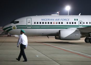 Nigeria's presidential Air Force One aircraft in Sochi