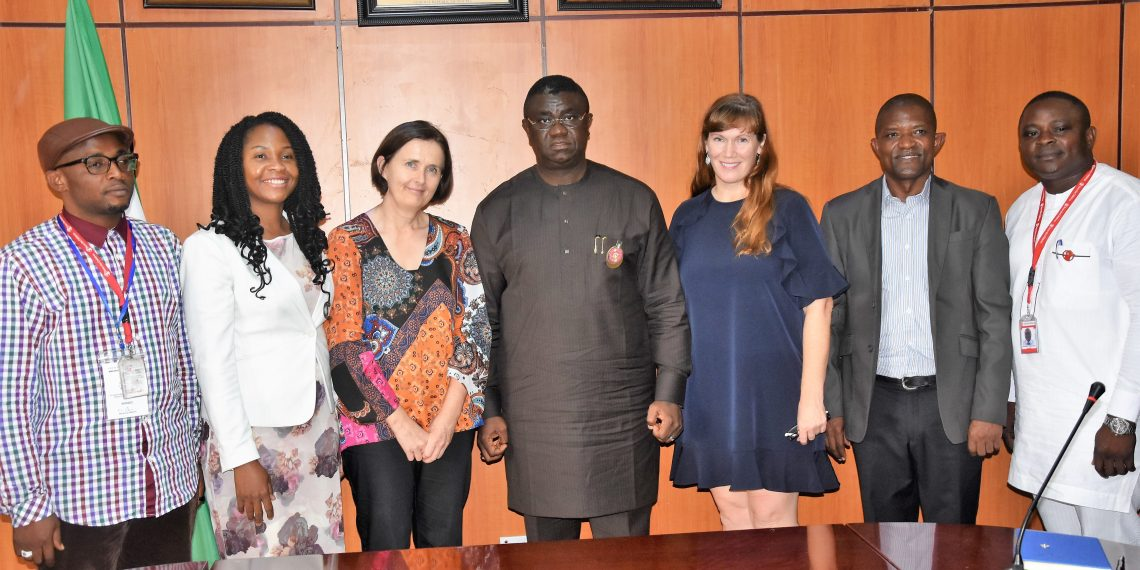 Minister of State for Budget and National Planning, Prince Clem Ikanade Agba (middle) flanked by members of Save the Children Organisation, led by the Country Director, Deirde Keogh (third left), when the delegation had an audience with the minister in his office on Tuesday.