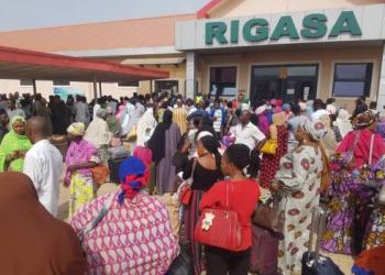 Over crowded Rigasa train station, Kaduna
