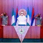 President Muhammadu Buhari with Service Chiefs' at the Villa