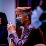Vice President Yemi Osinbajo SAN receives a mission debrief from AFDB Officials on the Industrial Zone led by Toda Atsuko- Acting Vice President, Agriculture, Human and Social Development at the State House, Abuja. 16th April, 2021. Photos; Tolani Alli